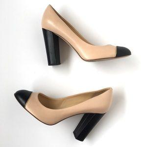 J Crew Etta Cap Toe Color Black Pumps Heels 8.5
